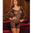 Rene rofe crochet net long sleeve dress black o/s