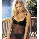 Embroidery & Sheer Babydoll w/Underwire Cups, Adjustable Straps & G-String Black LG