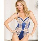 Lace & Mesh Multi-Panel Teddy w/Caged Underwire Cups, Adjustable Straps & Thong Navy/Beige MD