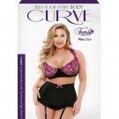 Curve Cassie Underwire Bra w/Gartered Skirt & Panty Black/Pink 3X/4X