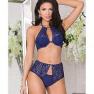 Lace Trim Halter Bra w/Padded Underwire Cups, Adjustable Straps & High Waisted Panty Blue XL