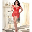 Venice Lace Fully Boned Corset w/Hi-Low Attached Skirt & Thong Lipstick Red 44