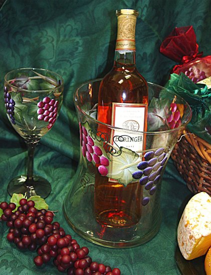 Tuscan Vineyard ~ Hand-painted Hourglass Wine/Champagne Cooler