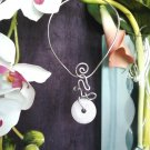 Single, Semi-Precious, Stone Donut and Wire Necklace ~ Design 3S
