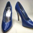 Ellie 8220 classic power pumps 5 inch stiletto high heels blue PU (faux leather) size 8