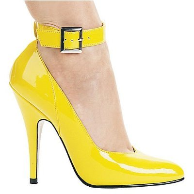 Ellie 8221 classic ankle strap pumps 5 inch stiletto high heels yellow patent size 6