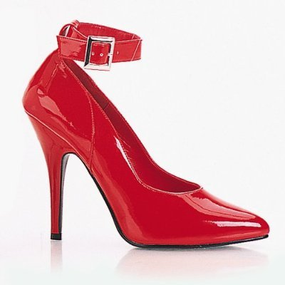 Ellie 8221 classic ankle strap pumps 5 inch stiletto high heels red patent size 10