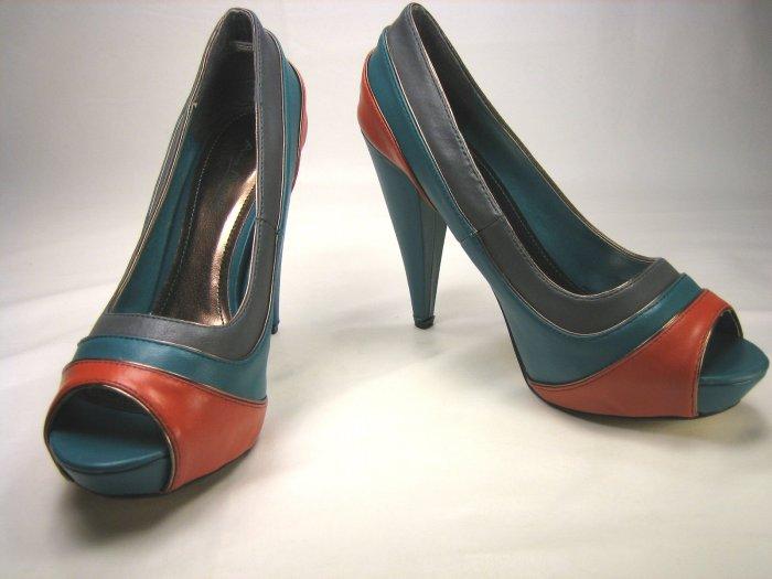 Anne Michelle open toe platform multi color pumps high heels shoes size 5.5