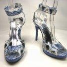 Anne Michelle strappy platform sandals 4.5 inch stiletto high heels shoes blue faux snake size 8.5