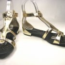 Bamboo Roman gladiator strappy sandal flats shoes faux leather gold size 6