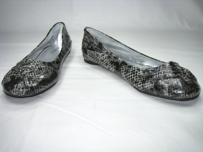 Bamboo ballerina flats pumps women's shoes faux snake black size 7