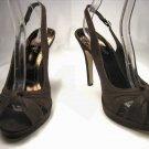 Anne Michelle open toe platform slingback pumps stiletto high heels shoes faux suede brown size 6.5