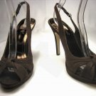 Anne Michelle open toe platform slingback pumps stiletto high heels shoes faux suede brown size 10