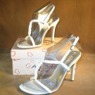 Strappy T-strap sandals stiletto high heels shoes white size 8.5