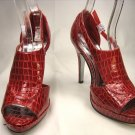 Open toe platform stiletto high heel pumps shoes red faux croc size 9