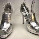 Open toe platform stiletto high heel pumps shoes silver faux croc size 9