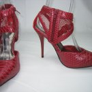Platform mesh strappy pumps 4.5 inch high heel shoe red size 7