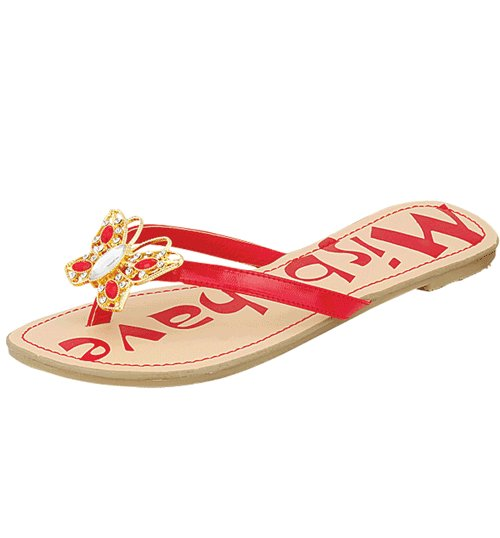 Butterfly rhinestone decorated sandals flats flip flops red size 7.5