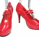 Ellie 421-Jane mary jane platform pumps high heels shoes red patent size 8