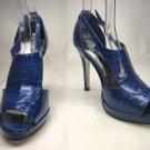 Open toe platform stiletto high heel pumps shoes blue faux croc size 5.5