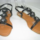 Decorated beaded strappy sandals flats women's shoes black size 6