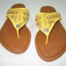 Colorful decorated women's sandals flats flip flops thongs yellow size 8.5