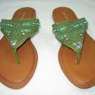 Colorful decorated women's sandals flats flip flops thongs green size 10
