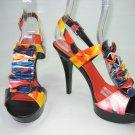 Multi color strappy platform sandals high heels shoes black size 8.5