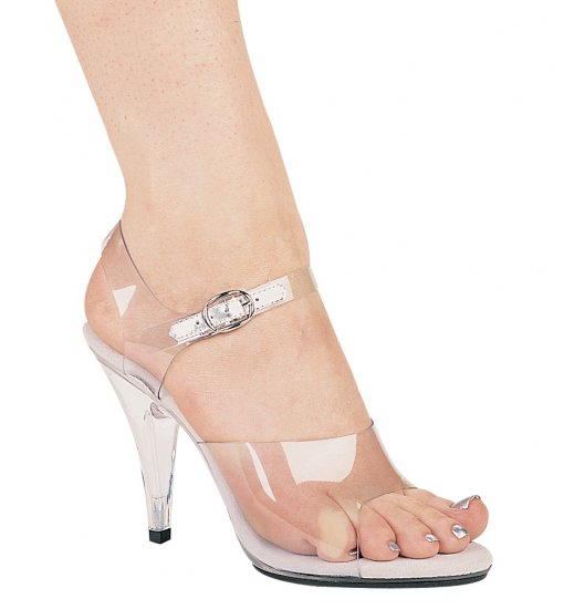 Clear strappy sandals 4 inch spike high heel women's shoes Ellie 405-Brook size 11