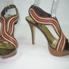 Anne Michelle hotshot-28 multi color brown strappy platform sandals heels women's shoes size 7