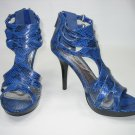 Strappy platform sandal high heel shoes faux snake blue size 6