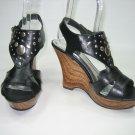 Strappy platform wedge high heel sandals black women's shoe size 6