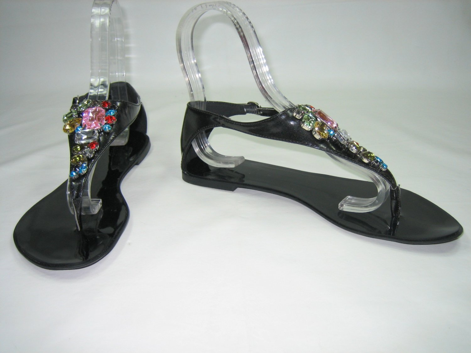 Bejeweled decorated sandals flats gladiator thongs black size 6.5