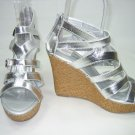 Strappy Espadrille platform sandals wedge high heels silver size 7