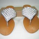 Women's decorated sandals flats thong flip flops silver size 6