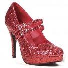 Ellie 421-jane-G Mary jane platform pumps high heels shoes red glitter size 6