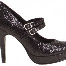 Ellie 421-jane-G Mary jane platform pumps high heels shoes black glitter size 6