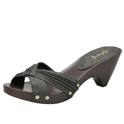 Women's x-band slides sandals faux buckskin black size 5.5