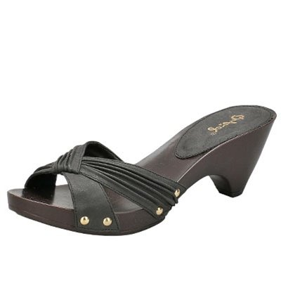 Women's x-band slides sandals faux buckskin black size 6.5