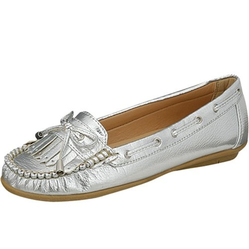 Women's size 5.5 moccasins flats shoes faux leather silver