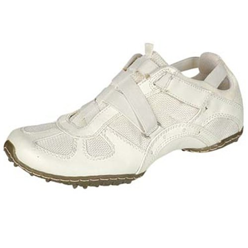 Ladie's fashion sneakers velcro closure comfort flats women's shoes white size 6.5