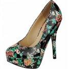 Platform 5.5 inch stiletto high heel pumps shoes black patent floral size 9
