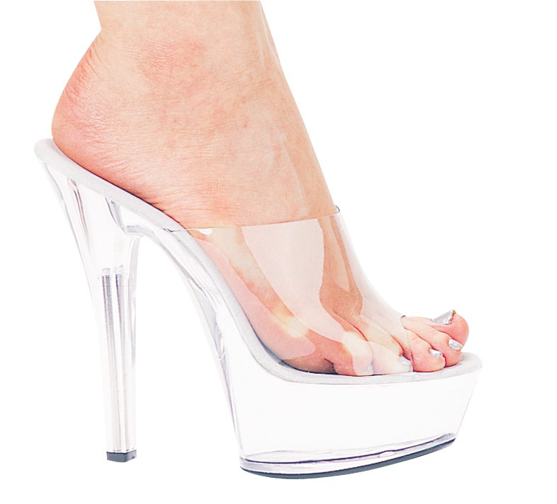 Ellie 601-vanity platform mules sandals 6 inch high heels shoes clear size 14