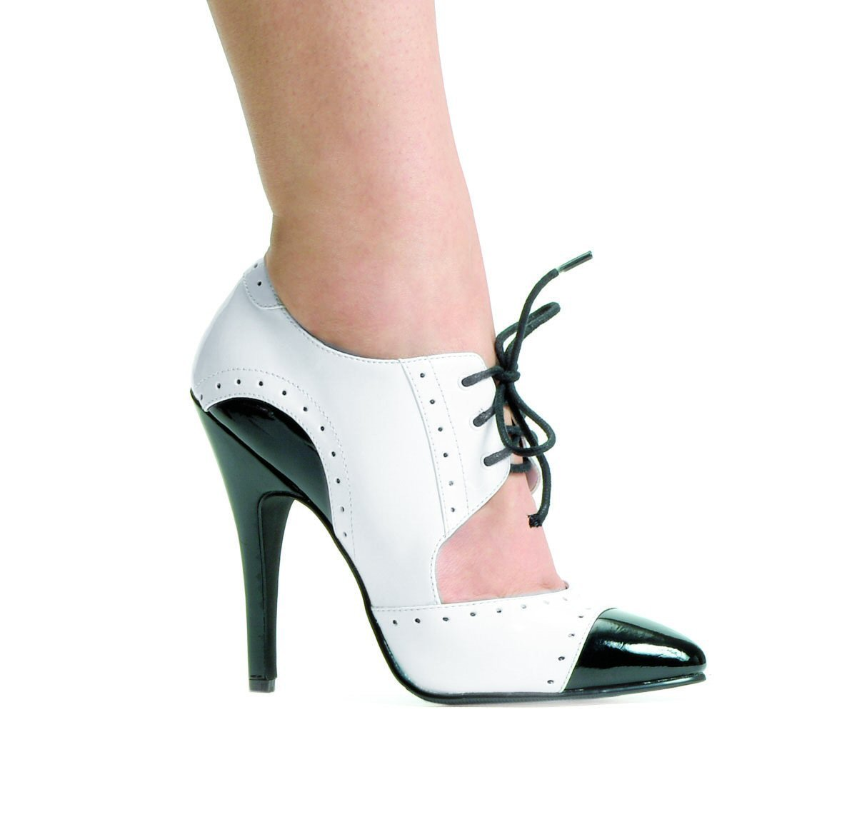 Ellie 511-Gangster women's pointy toe oxford pumps 5 inch heels white/black size 10