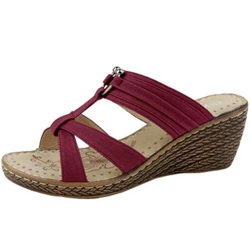 Strappy Espadrille platform sandals 2.5 inch wedge heels women's shoes red size 8.5
