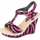 Strappy platform sandals 4.5 inch wedge high heel women's shoes fuchsia zebra print size 6.5