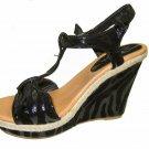 Strappy platform sandals 4.5 inch wedge high heel women's shoes black zebra print size 6