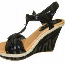 Strappy platform sandals 4.5 inch wedge high heel women's shoes black zebra print size 9