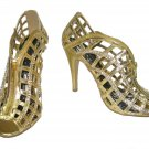 Celeste strappy rhinestone evening party prom 4 inch high heel cage sandals gold size 5.5