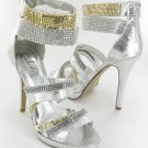 Celeste strappy rhinestone evening party prom 5 inch high heel platform sandals silver size 7